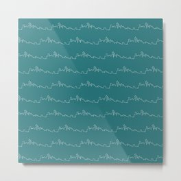 Seattle Skyline // Teal Metal Print