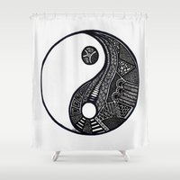 ying yang Shower Curtains featuring Ying & Yang by Lauren Moore