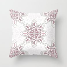 Feathers, Geometric Pattern in Mauve and Grey Throw Pillow