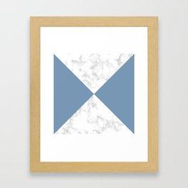 diagonal tiles marble blue pattern Framed Art Print