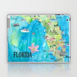 USA Florida State Fine Art Print Retro Vintage Map with Touristic Highlights Laptop & iPad Skin
