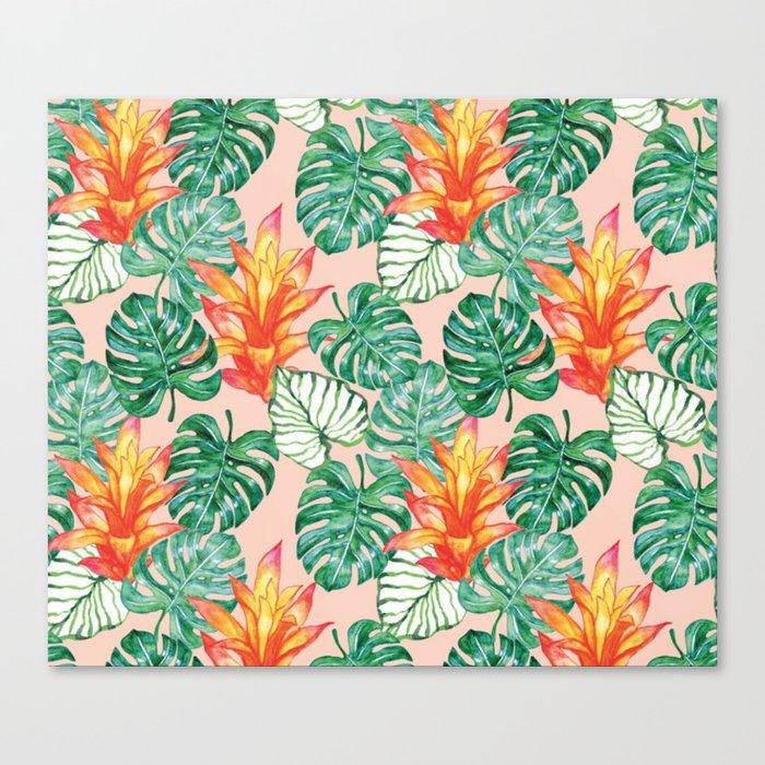 Peach tropical floral Canvas Print