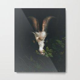 Goat in Green Foliage Metal Print