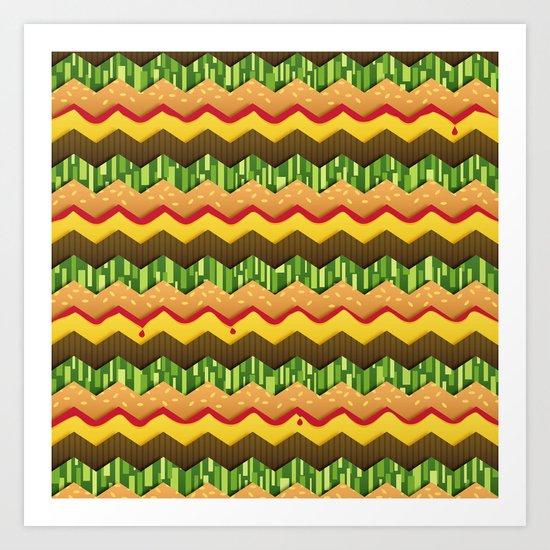 Cheeseburger Chevron Art Print