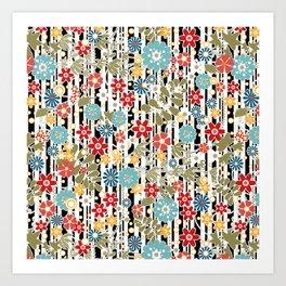 Floral pattern on striped background Art Print
