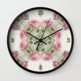 Pink Chrysanthemums Kaleidoscope Art 10 Wall Clock