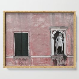 Pink and Black Venetian Building Serving Tray