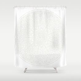 Cream on White Mandala Circle of Life Shower Curtain