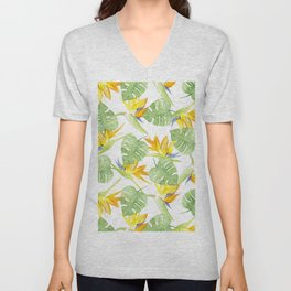 watercolor pattern tropical leaves and flowers bird of paradise Unisex V-Neck
