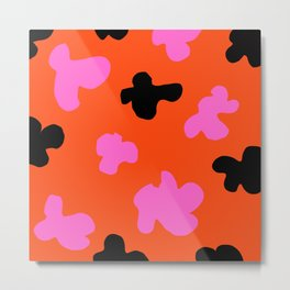 Grell 003 / A Dazzling 70's Pattern Of Black & Pink Spots Metal Print