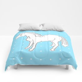 White Horse with Light Blue & Polka Dots Comforters