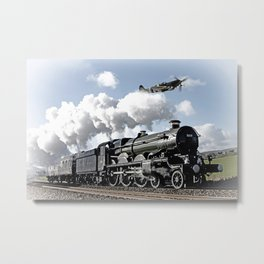 Spitfire and Nunney castle Metal Print