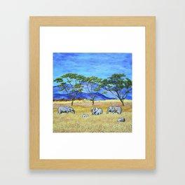 Elephants of Tanzania by Mike Kraus - african animals savanna plains mountains trees yellow blue Framed Art Print
