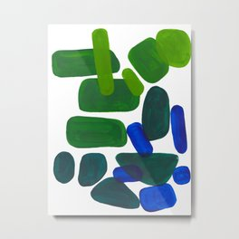 Mid Century Vintage Abstract Minimalist Colorful Pop Art Phthalo Blue Lime Green Pebble Shapes Metal Print