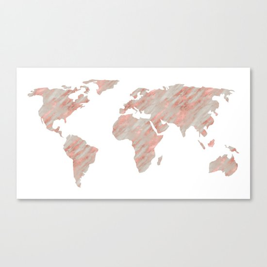 World Map Marble Rose Gold Canvas Print