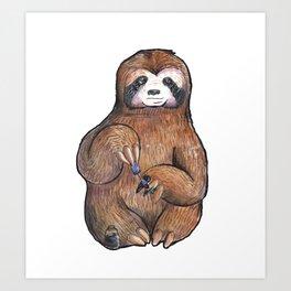 sloth painting nails Art Print