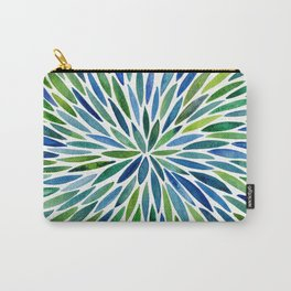 Watercolor Burst – Blue & Green Carry-All Pouch