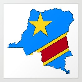 Democratic Republic of the Congo Map with Congolese Flag Art Print