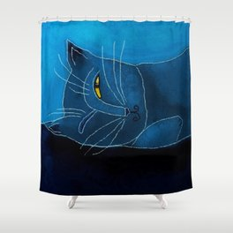 Sleeping Cat Abstract Digital Painting Shower Curtain