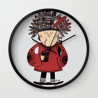 native american Wall Clocks featuring Native American Skater Boy by Farnell
