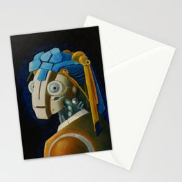 Robot with a Pearl Earring Stationery Cards