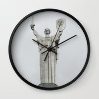 ukraine Wall Clocks featuring Motherland Statue, Kiev, Ukraine by Love Crosses Oceans Smith Family