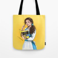 belle Tote Bags featuring Belle by C. Cassandra