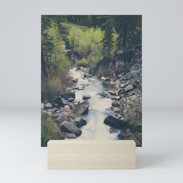 a mountain stream weaves down amongst the trees above Lake Tahoe Mini Art Print