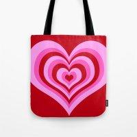 powerpuff girls Tote Bags featuring powerpuff hearts by tukylampkin