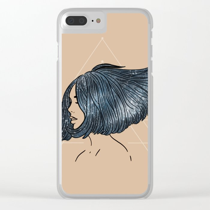 Floating Through Space - Beige Clear iPhone Case