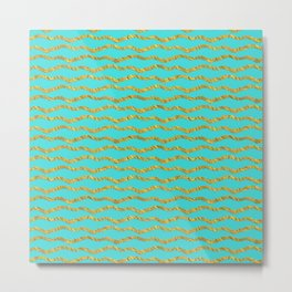 Golden waves - Abstract geometrical pattern on aqua backround Metal Print