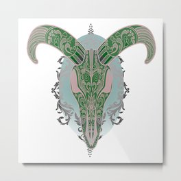 Long Horn Metal Print