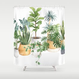Watercolor house plants potted plants Shower Curtain