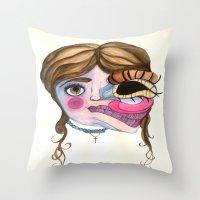 emily rickard Throw Pillows featuring Emily by madeleinemaddie