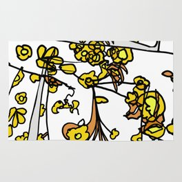 Golden Petals on Branches Rug