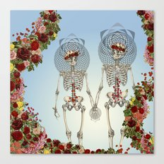 The Summer of Love anatomical skeleton collage art by bedelgeuse Canvas Print