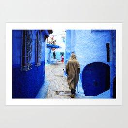 Blue Pearl Chefchaouen - Narrow Streets Art Print