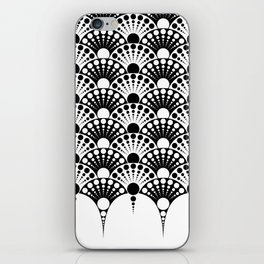 black and white art deco inspired fan pattern iPhone Skin