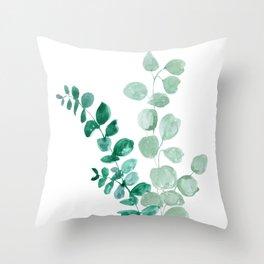 Watercolor eucalyptus leaves Throw Pillow