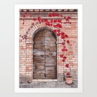 Weathered wooden door with red vine plant Art Print