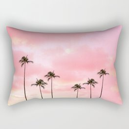 Palm Trees Photography | Hot Pink Sunset Rectangular Pillow