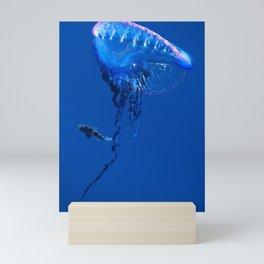 Fish and friend jellyfish Man O´War Mini Art Print