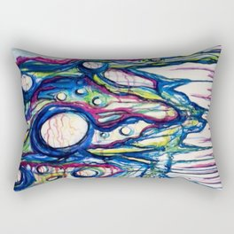 Coral Reef Abstract Watercolor Painting Rectangular Pillow