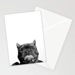 frenchie licking you Stationery Cards