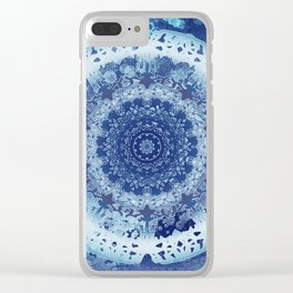 Chambray Anenome Mandala Clear iPhone Case