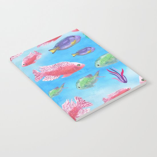 The deep sea-fishes in the sea- watercolor illustration Notebook