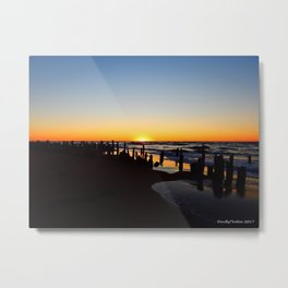 Wharf Beach Sunset Metal Print