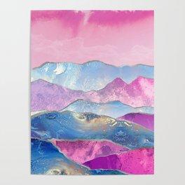 Abstract Mountain Landscape  Digital Art Poster