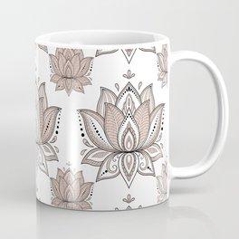 Lotus Mandala Doodle Pink Marble Pattern Coffee Mug