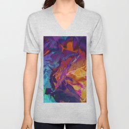 Dragon's Back. Dynamic, Blue, Purple and Orange Abstract. Unisex V-Neck